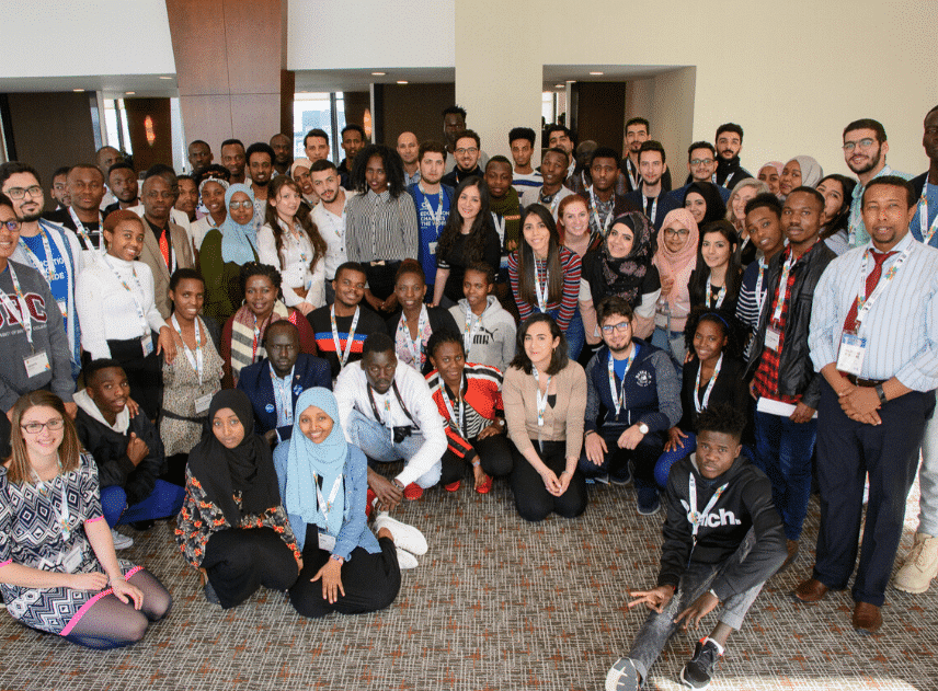 Members of the Student Refugee Program Alumni Advisory Team and newly arrived students at WUSC's International Forum, 2018 (Photo Credit: WUSC)
