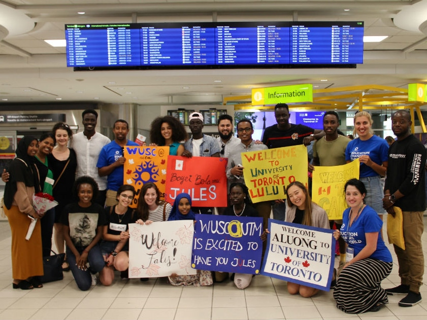 Local Committee members welcome newly arriving students to Toronto through the Student Refugee Program. Canada 2018.